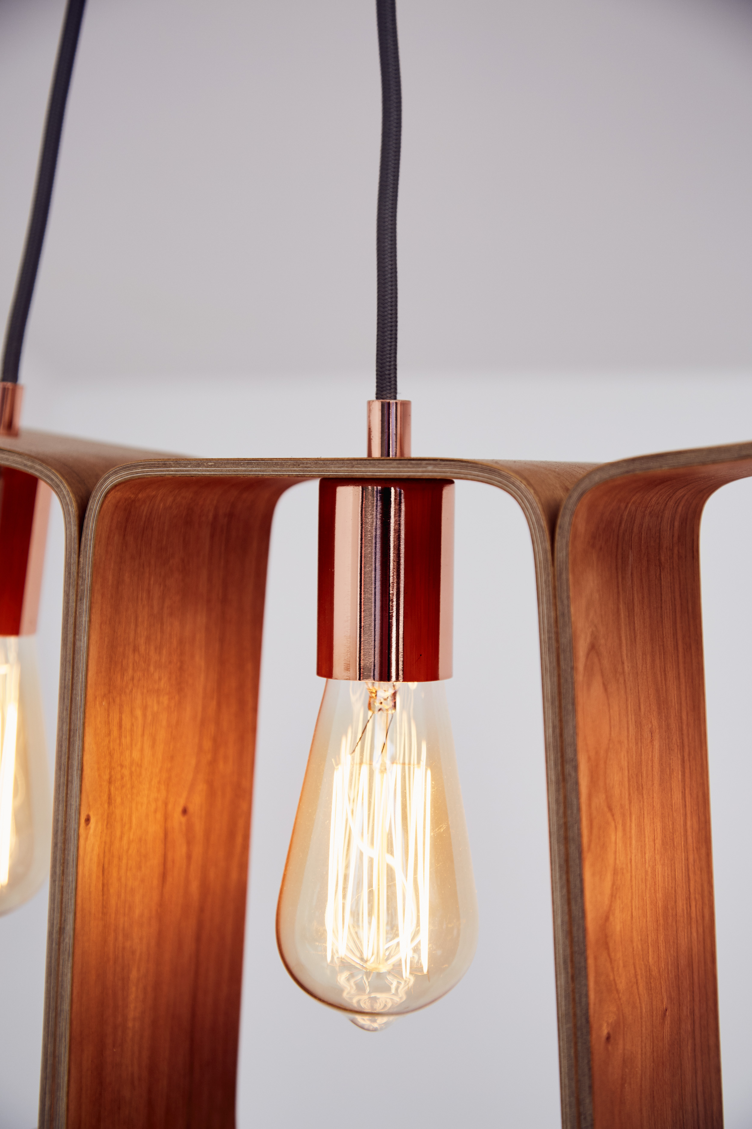 Fab Chandelier  made from cherry plywood.