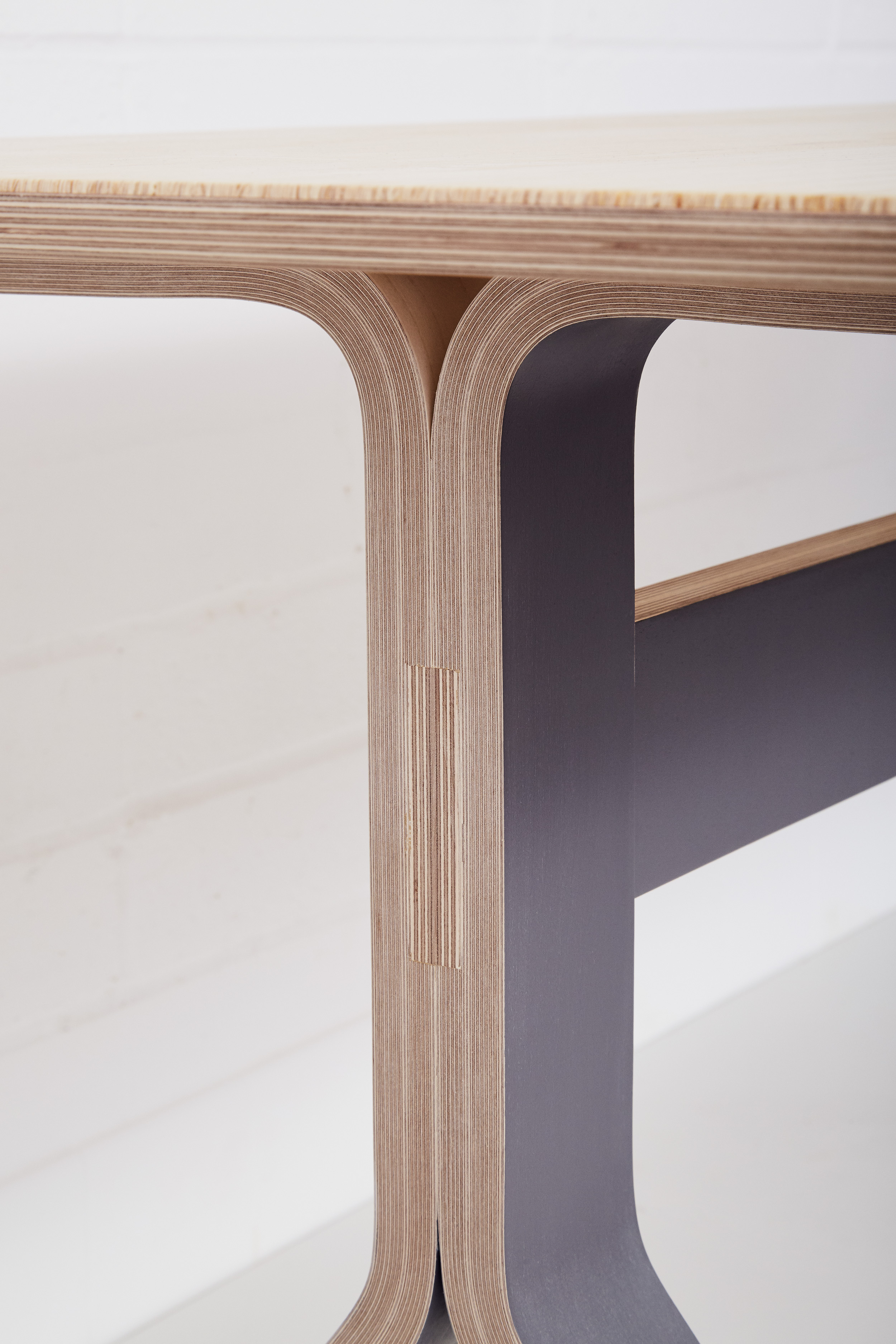 Sea Table  with Birch Plywood top and curved birch plywood legs.