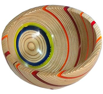 Turned Plywood and acrylic bowl, artist unknown.