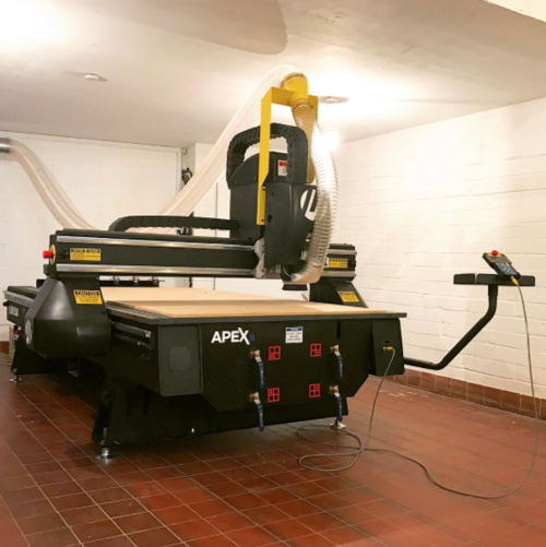 Lozi's CNC Router, used to cut each piece of plywood to an exact digitally designed shape.