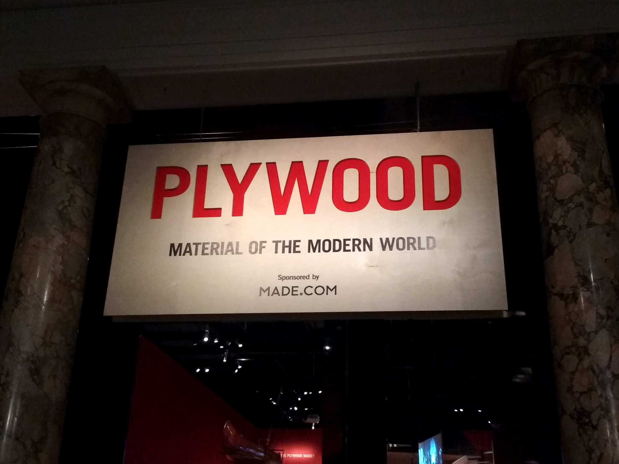 Plywood - Material of the Modern World sign, V&A museum.