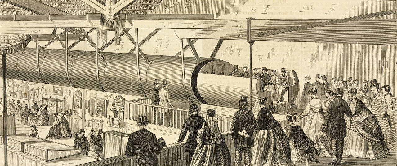 Print, full-scale prototype of a plywood tubular rail system in operation at the American Institute Fair, New York, 1867