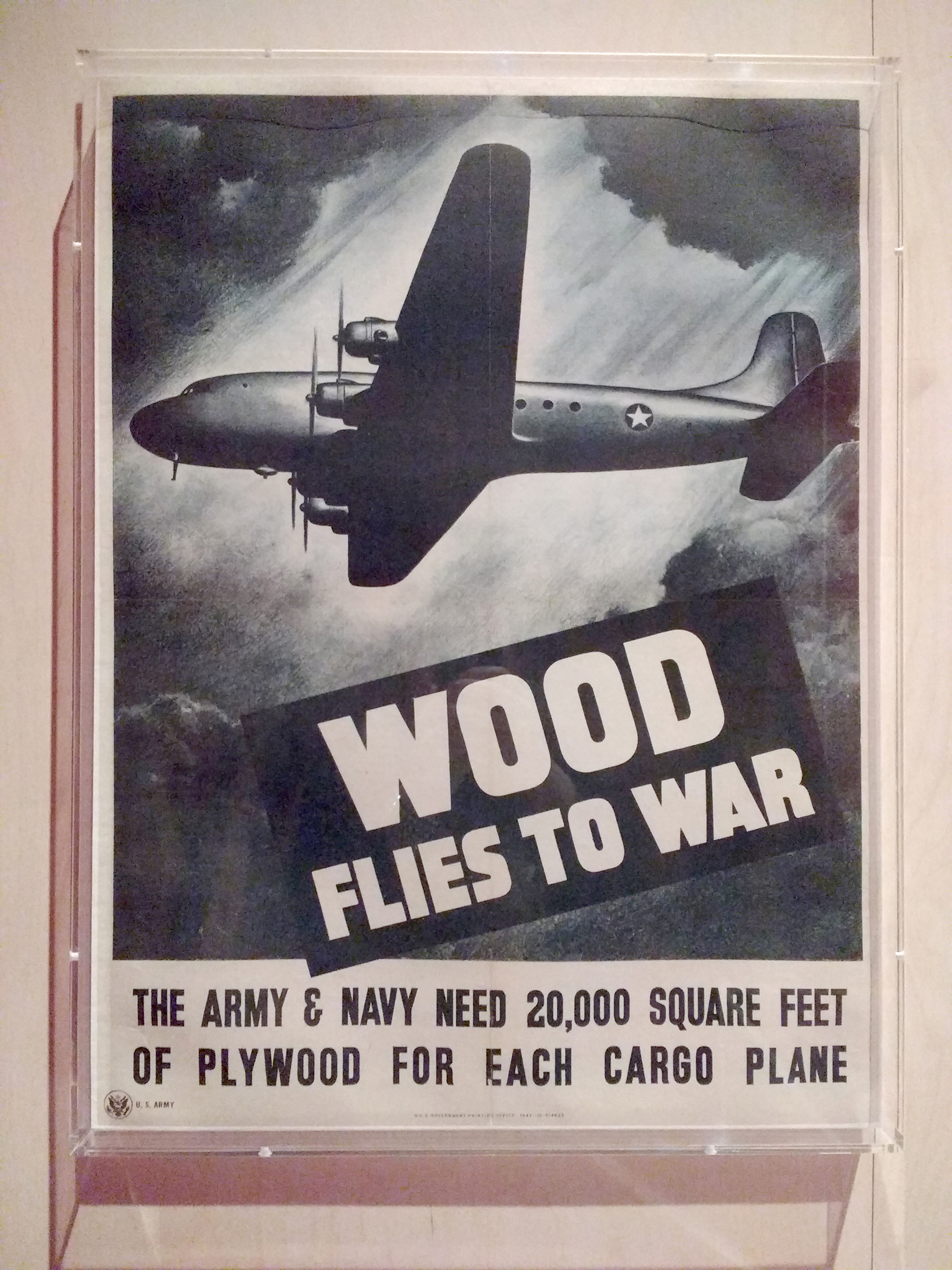 'Wood flies to war' poster, 1943, Designed for the US Army Bureau of Public Relations