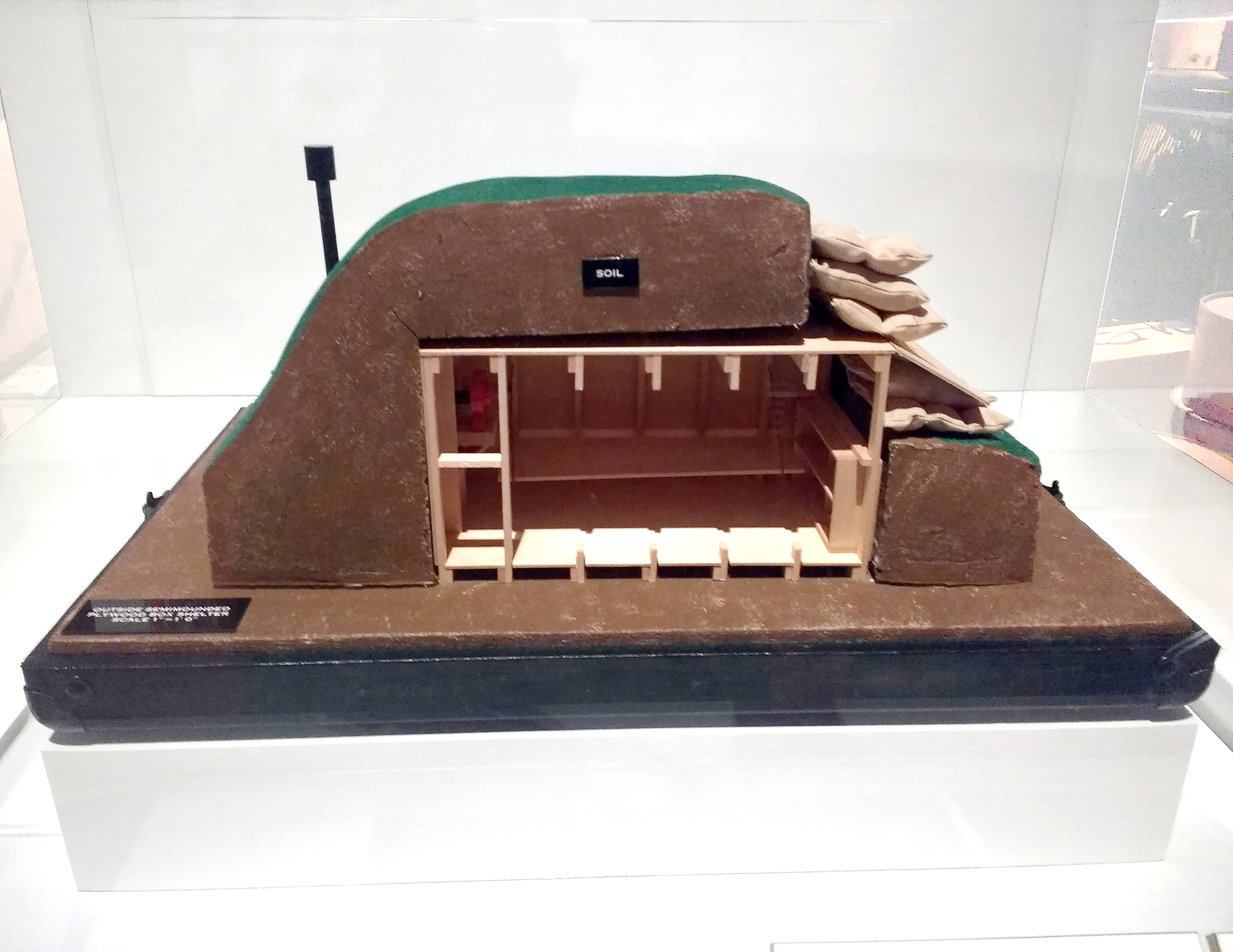 Model of a plywood nuclear fallout shelter, About 1962, Designed by the US Department of Defence