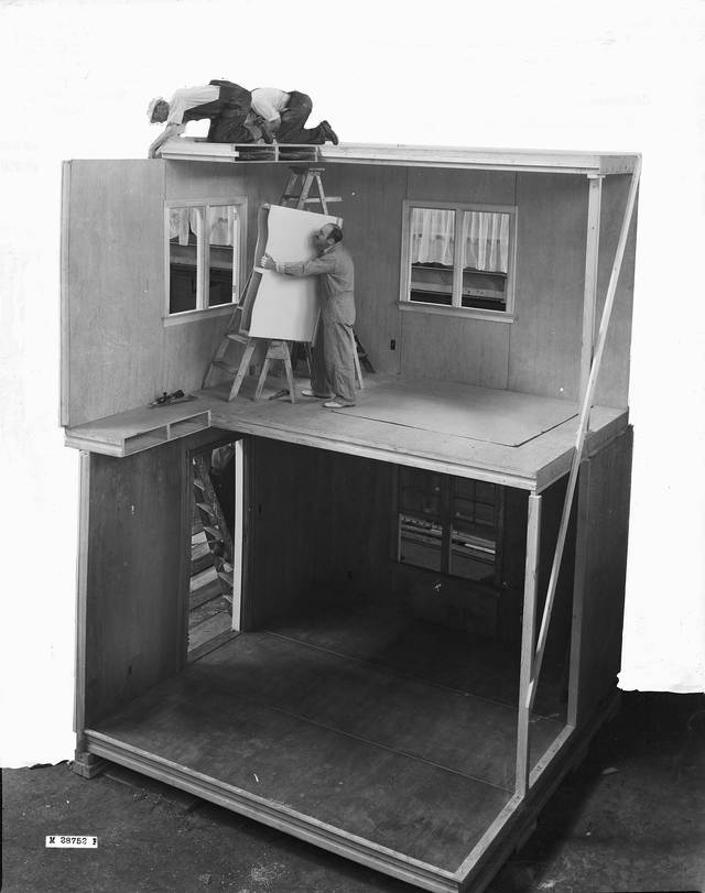 Full-scale house, built at the 1937 Madison Home Show to demonstrate the US Forest Product Laboratory's plywood prefabrication system. Photograph courtesy USDA Forest Service, Forest Products Laboratory