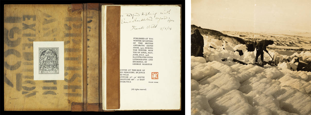 Cover for Aurora Borealis, Photograph, explorers digging plywood cases from the ice, 1908, Antarctica. Photograph courtesy of the Library of New South Wales