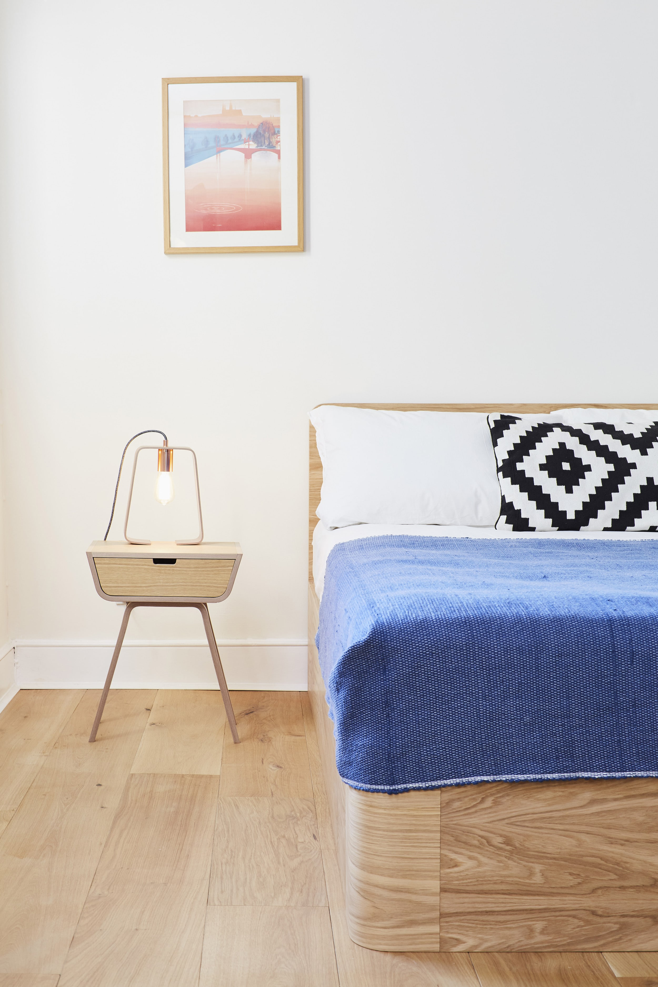The bright and modern bedroom with a  Bedframe ,  Bedside Tables  and  Fab Lamp  by Lozi.