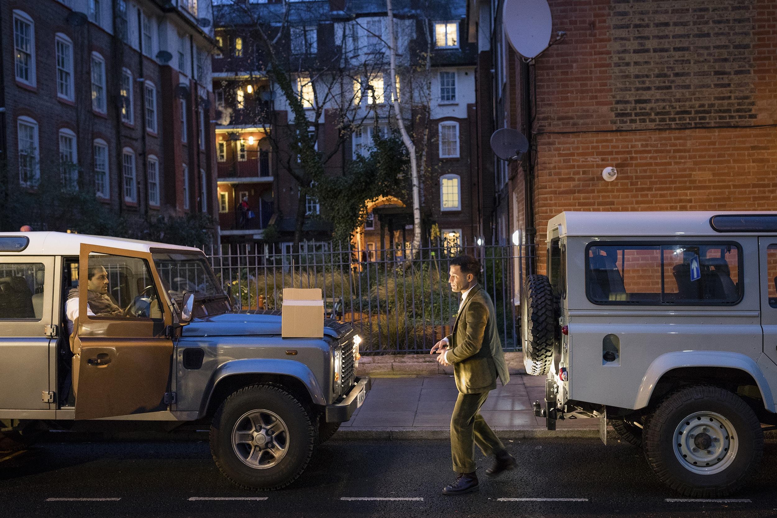 Soroush arriving at Hackney Town Hall in his beloved  Landrover Defender.  Photo: Magnus Arrevad