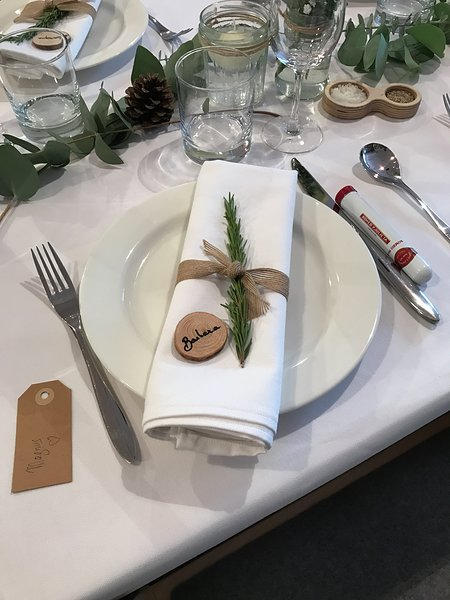 Barbara's place setting at the Lozi wedding