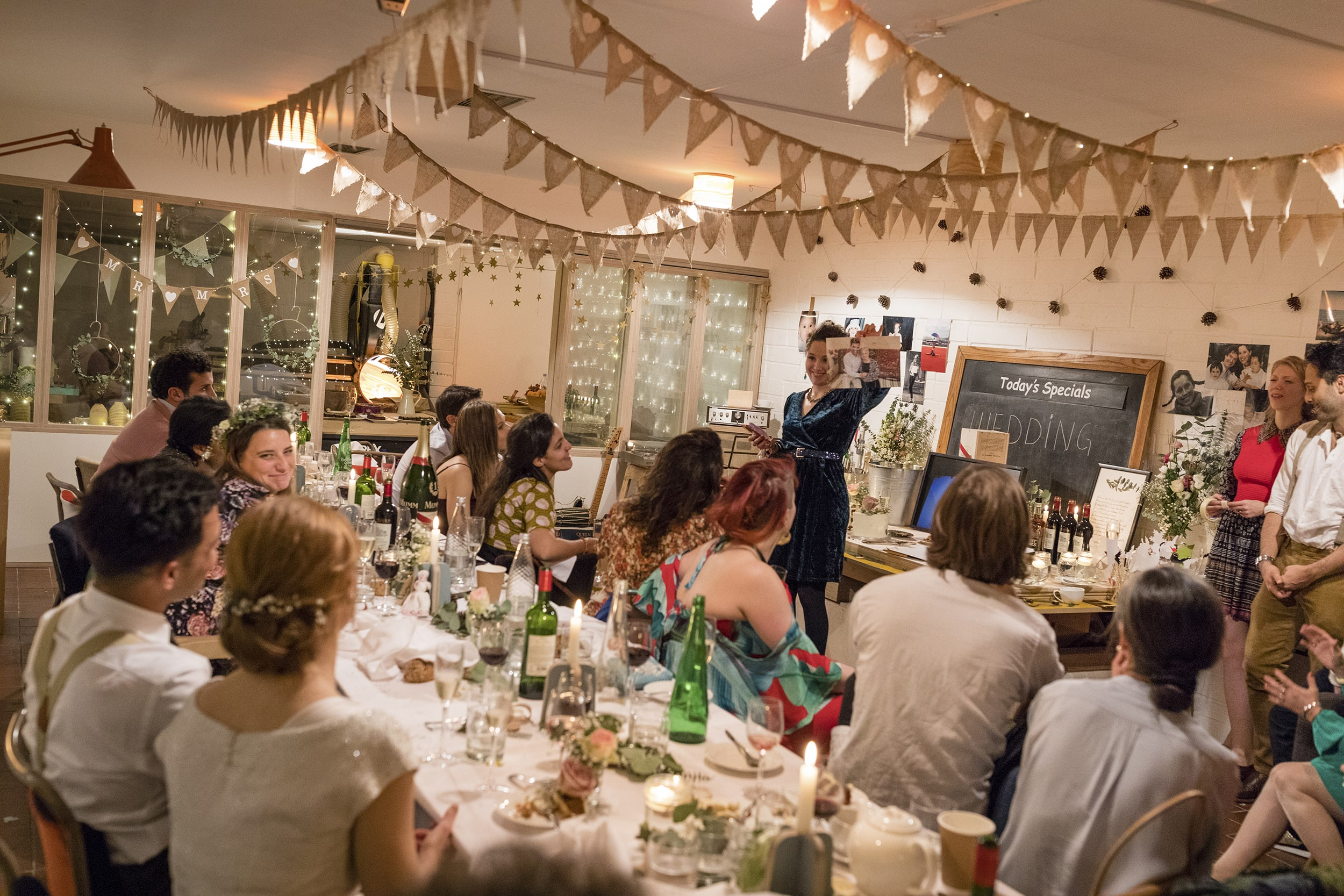 The wedding speeches held in front of the transformed vacuum press! Photo: Magnus Arrevad.