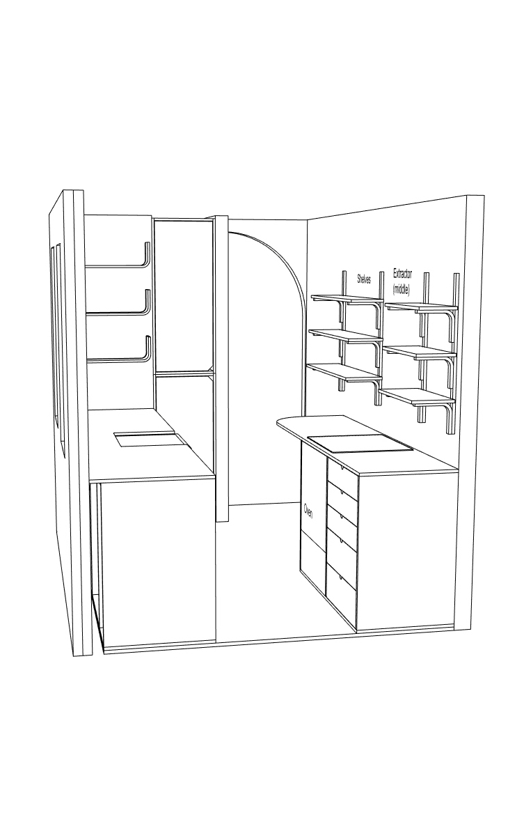 The technical 3D design file drawing for Georgina's Lozi kitchen.