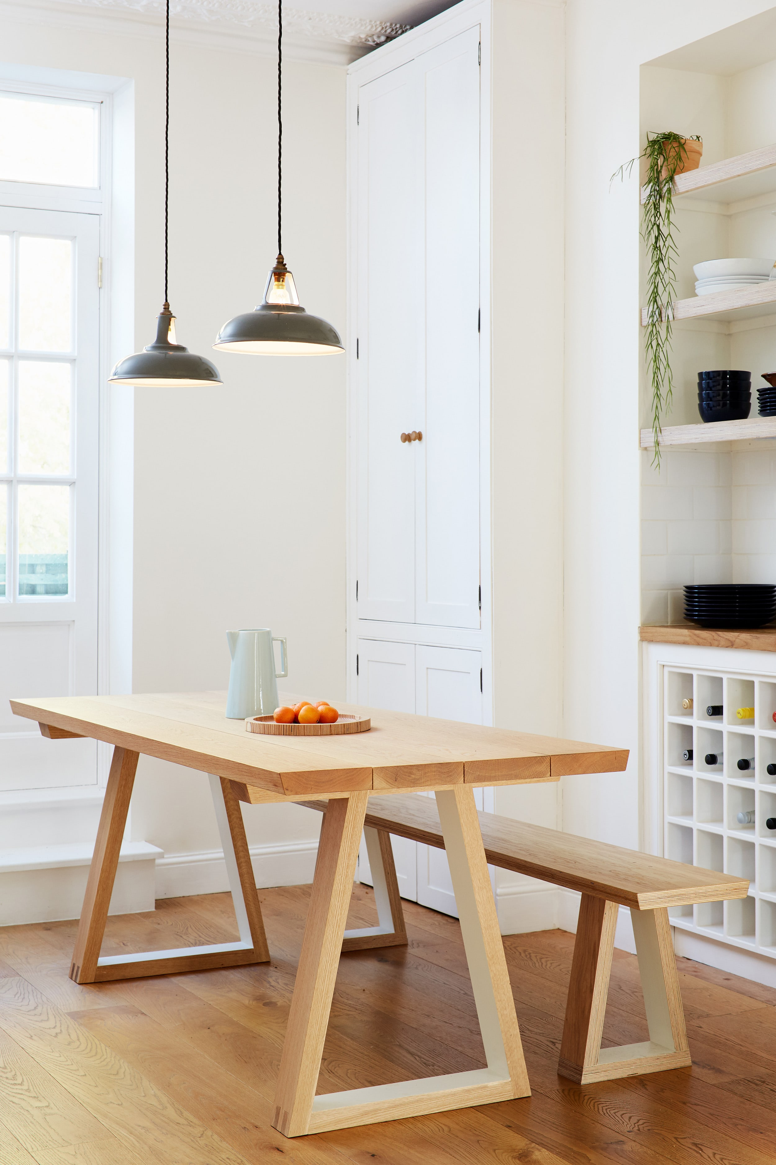 Cass's beautiful plywood and solid oak table was made specifically for her kitchen.