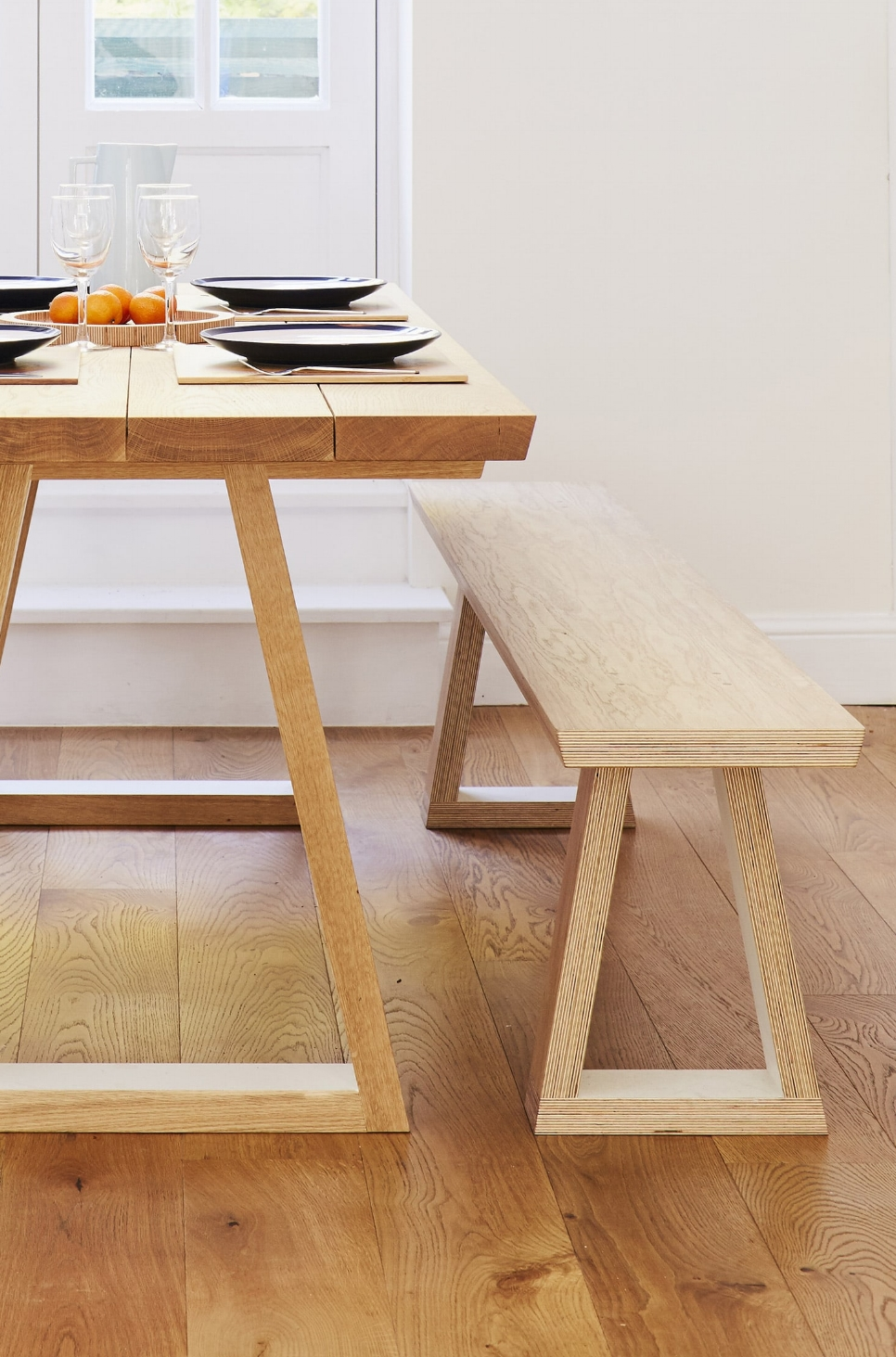 Cass wanted a long bench to match her one of a kind kitchen table.