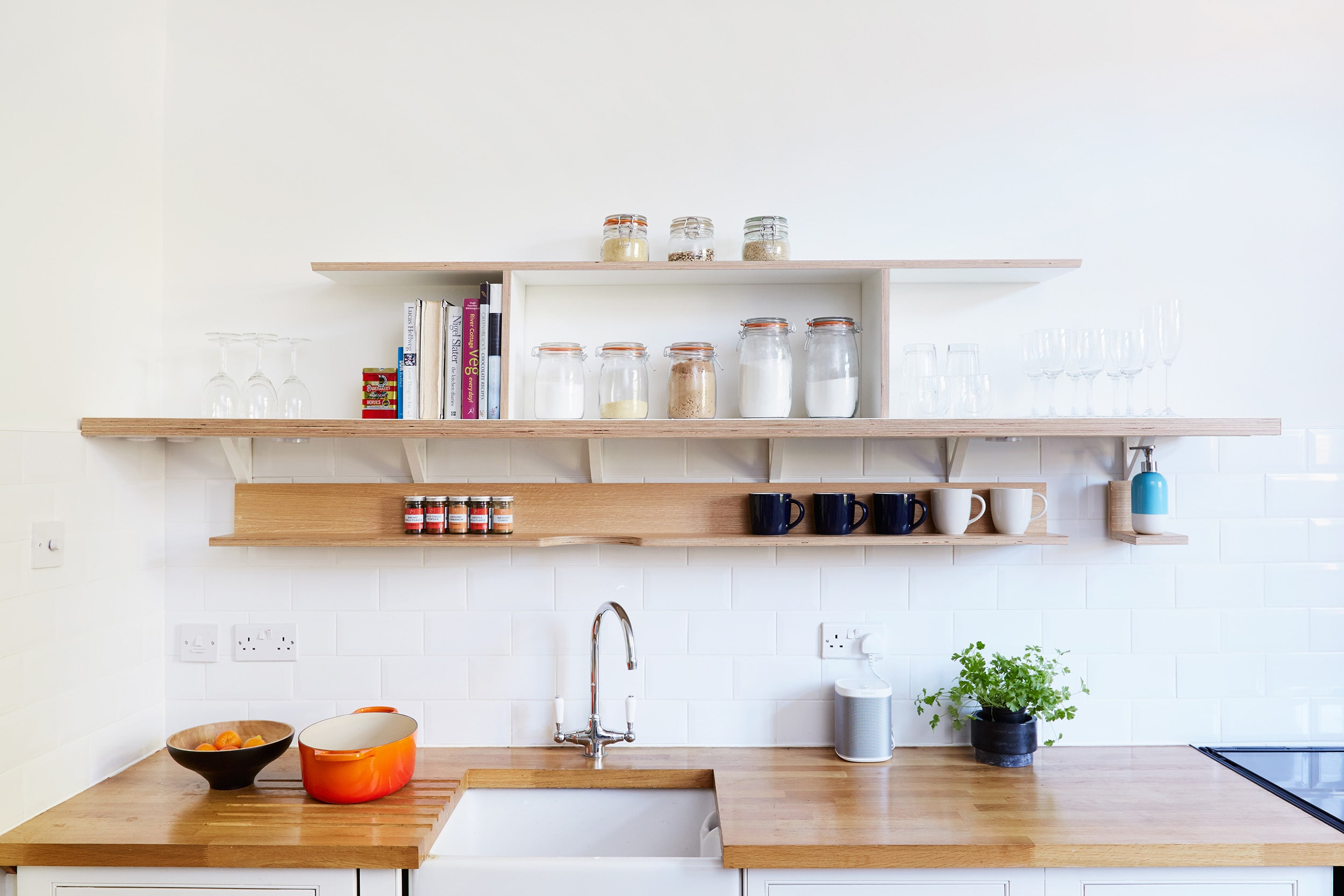 The long open plan shelving as part of our House of Lozi project for Cass in Dalston, as featured in the Sunday Times! (kitchen counters and carcasses not by Lozi)