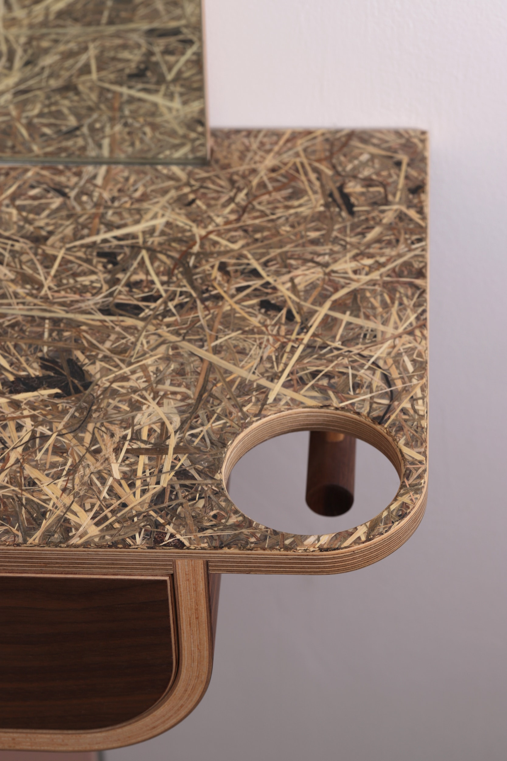 A close up of the recycled straw bio-laminate surface