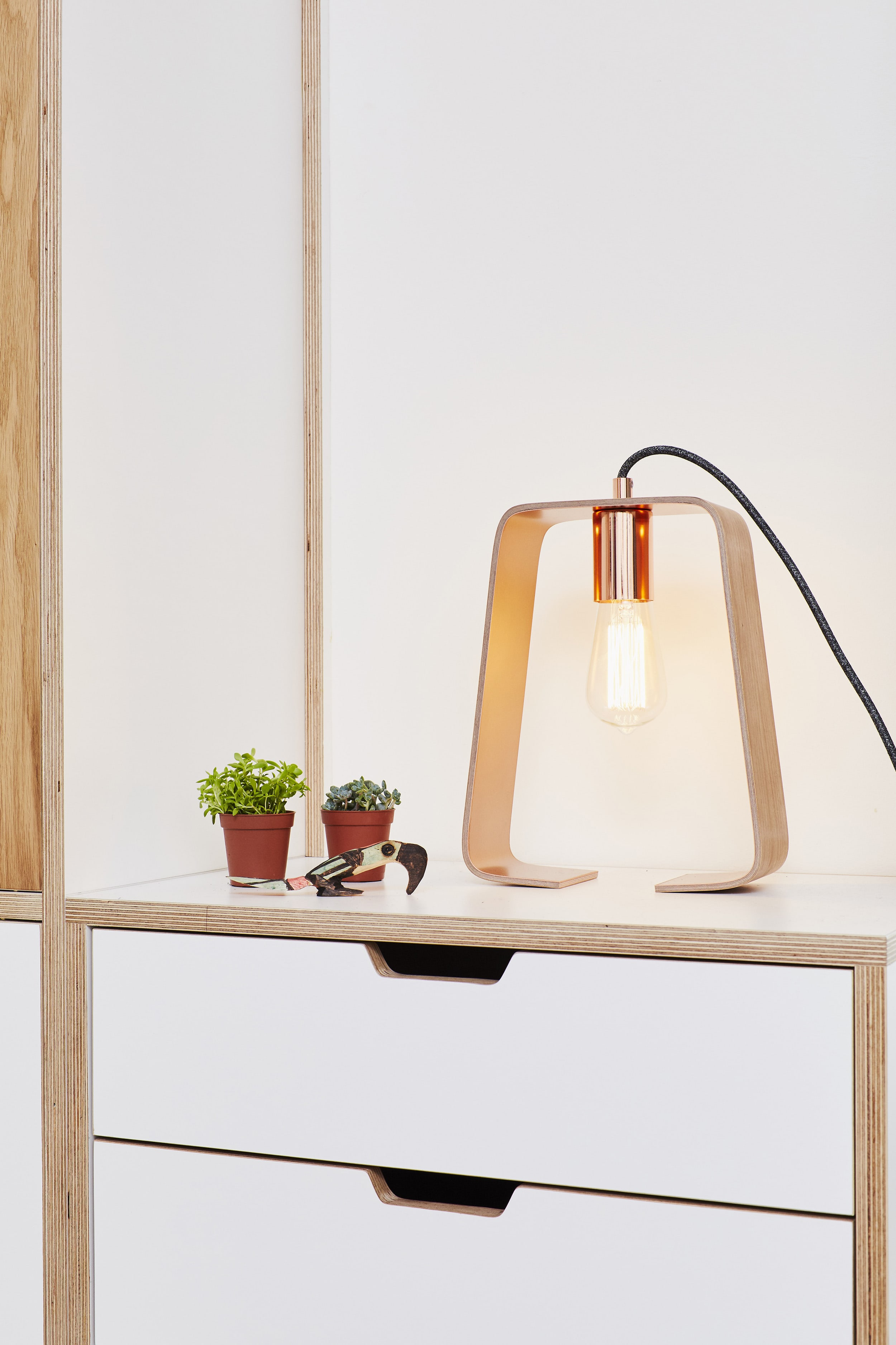 A single fab lamp sitting in the alcove in Lozi's plywood wardrobe in Cass's Home, London E8