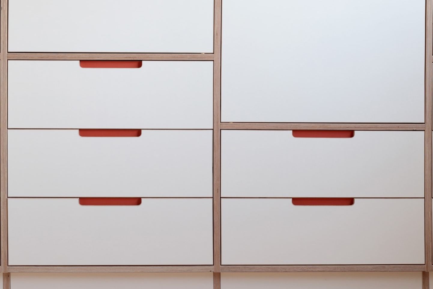 Drawer detail from Ilaria's bespoke plywood wardrobe designed by Lozi in her home in East London