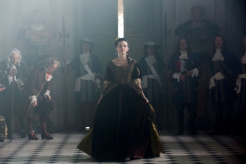 The King's mistress, Madame de Montespan (Anna Brewster) is loving every second of her hold over him.