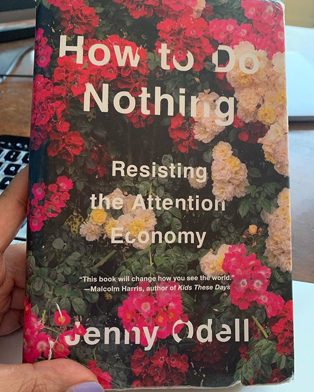 """this week's book recommendation is """"how to do nothing"""" by @jennitaur ! thank you @sharminultra for the rec. this book is so vital for our generation — we who are more connected than ever before but still more lonely + alienated than ever. odell takes social media companies to task for competing for our attentiveness + making us invest in the construction of digital worlds all the while the physical world around us falls apart. she is thinking through what it means to reclaim intimacy, connectivity, and resistance amidst the over-saturation of stimulation the Internet age has proliferated (re: think-piece economy). for Odell """"silence"""" and """"nothing,"""" are not absences, they are presences pregnant with possibility. their stillness kindles another way to relate to ourselves and the world around us, one that allows us to both relish and relax more. """"doing nothing,"""" isn't about a total digital detox, it's about excavating a third space that is of the digital world + outside of it. it's about being able to reclaim our attentiveness and redirect it into the things that matter to us. i didn't agree with all of Odell's arguments + thought that more attention could have been paid to creators who redeploy social media technologies for meaningful change + found that the romanticism of the """"offline"""" + """"nature"""" often rehashed reductive binaries between the digital/real...preventing an honest conversation about how for many marginalized people the Internet is the closest to the real we might have access to...but nevertheless reading this was an absolute delight because odell, an artist herself, uplifts performance + visual art as a form of scholarship that teaches us other ways to exist, she curates + presents such an exquisite + compelling archive of philosophies, movement histories, + creative works that offer so much promise + possibility, and she models a form of writing that is situated in the social + ecological worlds she inhabits. the text is both personal + political, emoti"""