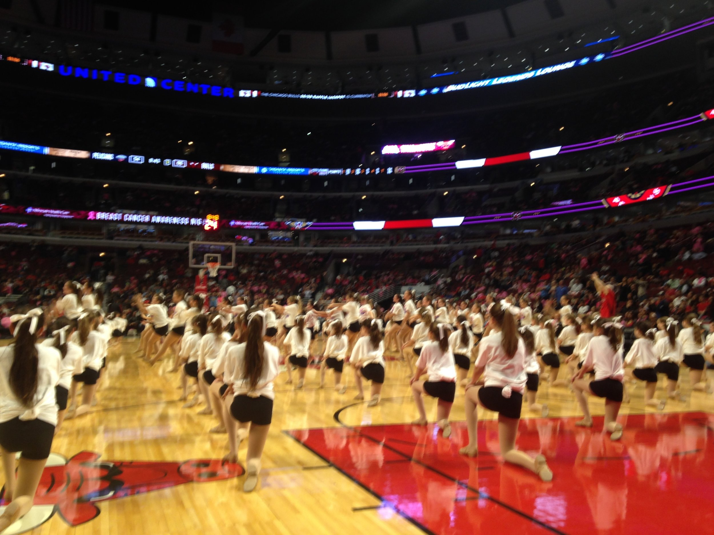 DancEd Dance Center center court at a Chicago Bulls game.