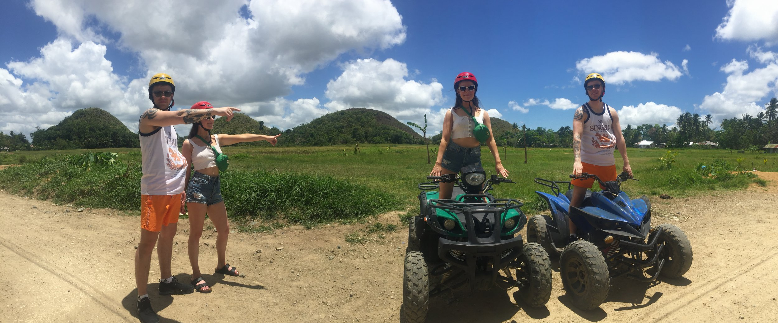 ATV driving across the world famous Chocolate Hills in central Bohol