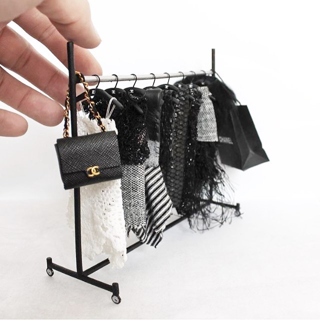 Feeling inspired by @phillipnuveen 's clothing rack.  My dollhouse has no closets... duh!  Thinking I need to humbly try to create a rolling rack of hanging clothes for the master.  Thanks @phillipnuveen.  I love all of your miniature work. #dollhouse #dollhousereno #dollhouseaccessories #miniatures #rollingrack #couture