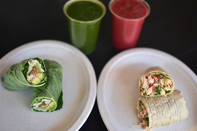 Enjoy this beautiful day with our Falafel Wrap (RV) or Wild Salmon & Quinoa Wrap and some refreshing drinks such as the Mango Berry Fusion or Amazonian!!! . . Happy Saturday Ya'll🌞 . . #fuelyourself #thefueljuicebar #healthiswealth #saladbowls #acaibowls #shots #veganfood #coldpressedjuices #brooklyn #williamsburg #bedstuy #bushwick #newyork #nyc