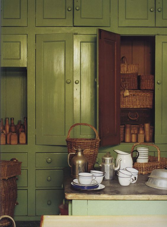 green kitchen cupboards