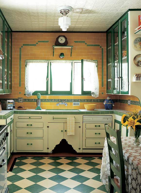 yellow deco kitchen tile