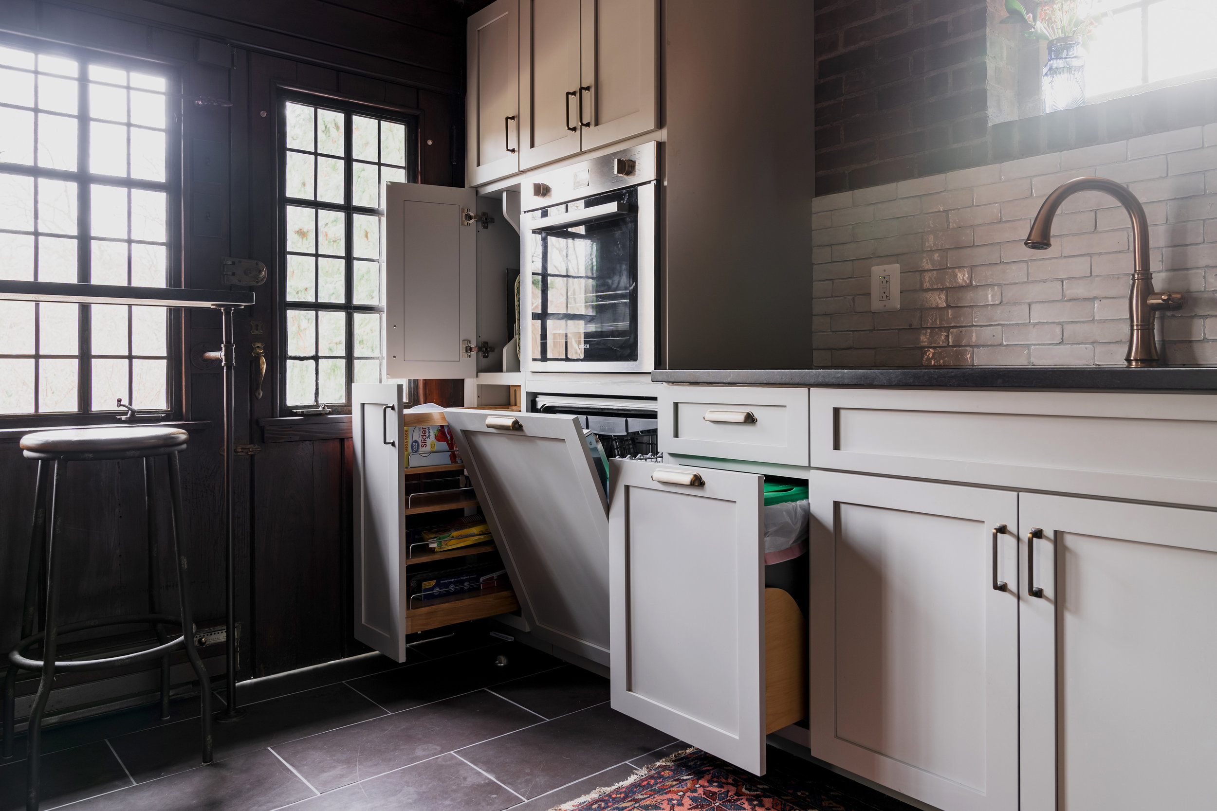 Custom cabinets can create better storage and a cleaner look.