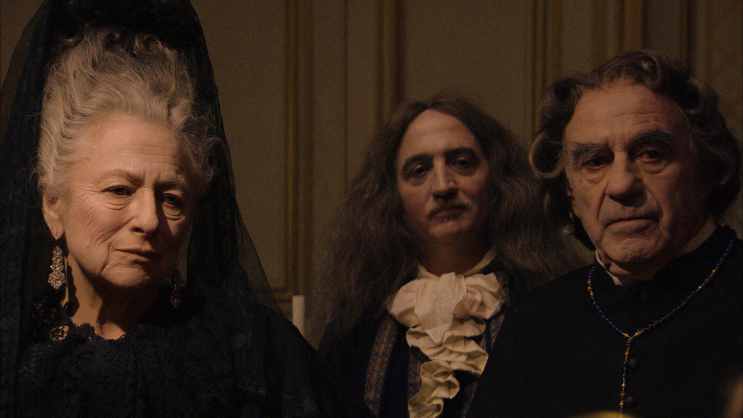 Irene Silvagni, Marc Susini and Jacques Henric in a scene from Albert Serra's  The Death of Louis XIV . Courtesy of Cinema Guild.