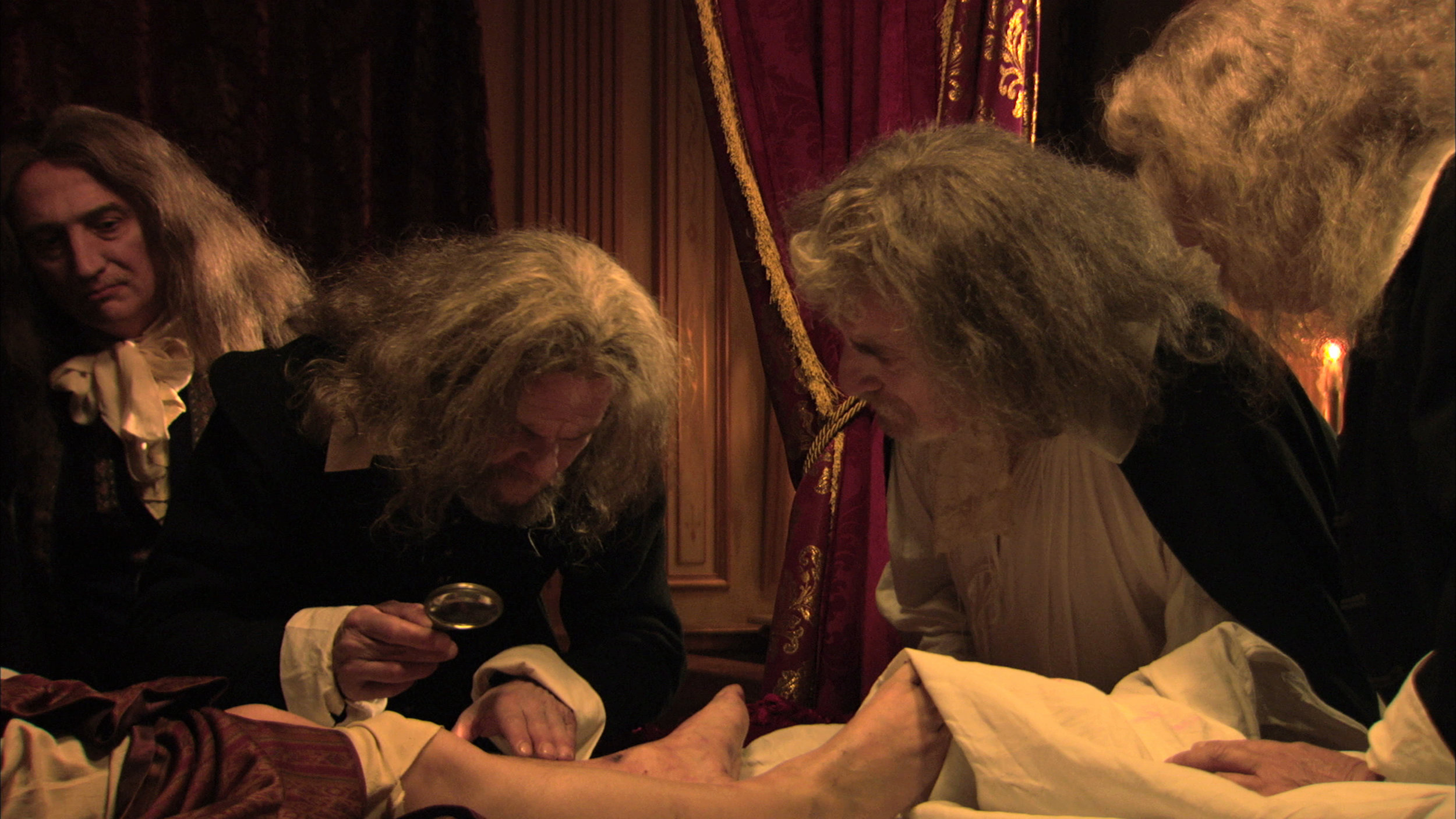 Marc Susini, Phillipe Crespeau and others in a scene from  The Death of Louis XIV.  Courtesy of Cinema Guild.