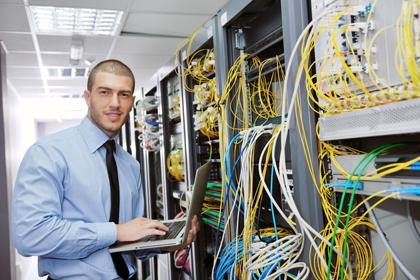 Smiling Data Center Technician
