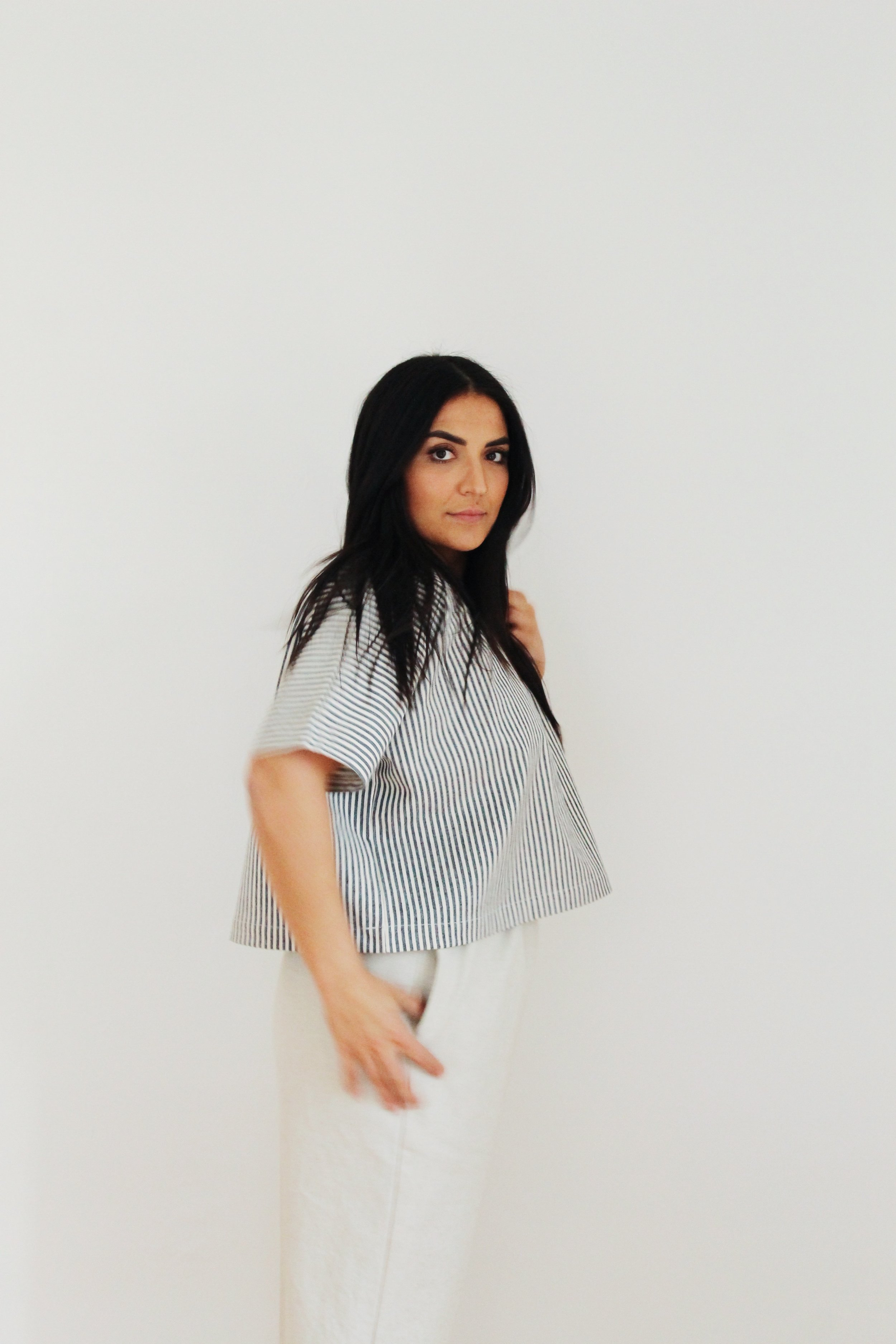 "t-shirt 4 in hemp organic cotton canvas in ""stripe"""