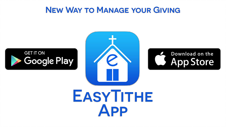 """CLICK THE EASY TITHE LOGO ABOVE TO GIVE ONLINE OR TO FIND OUT ABOUT OUR MOBILE GIVING APP   To sign up for Easy Tithe:  1. Click on the """"Give Now"""" button below.  2. Follow the on-screen instructions. If this is your first time giving through easy tithe click """"First Time"""" on the left of the screen. If you have given before simply enter in your user email address and password that you created the first time you signed up.  3. First time users will fill out the information on the next page after clicking """"First Time"""" as seen in the previous step. You will need a valid email address to sign up for Easy Tithe. This will complete your sign-up process. You will be asked to enter in your payment information when you complete this process before you send your first gift. You will be asked to log in again using your user email and password.  iPhone and iPad and Android users can download the FREE iOS or Android application from the App Store or Google Play Store. Search for easytithe (one word, no space) and download the free application. You will sign in using your user email and password."""