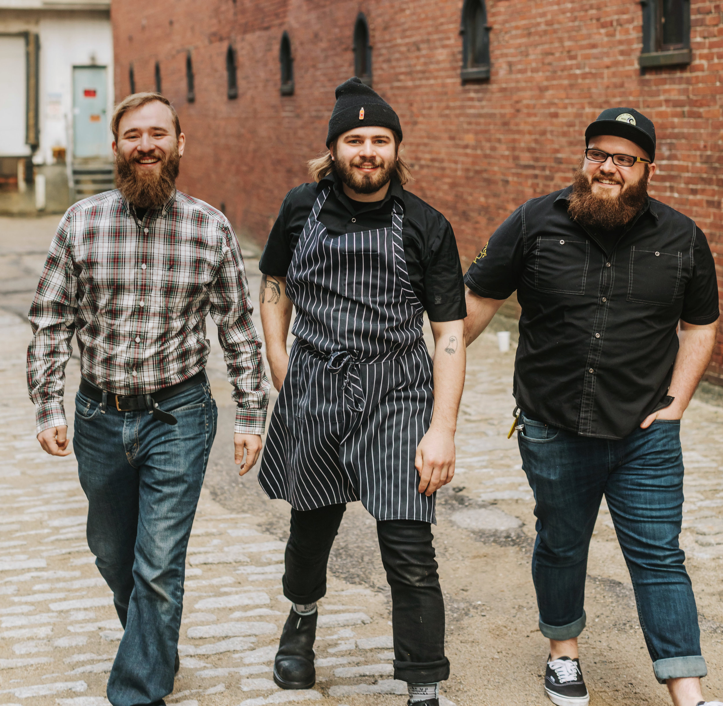The three Amigos - Brothers- Cousins - Cameron - General Manager / Connor - Sous Chef - Artist of the Mural / Kevin - Chef