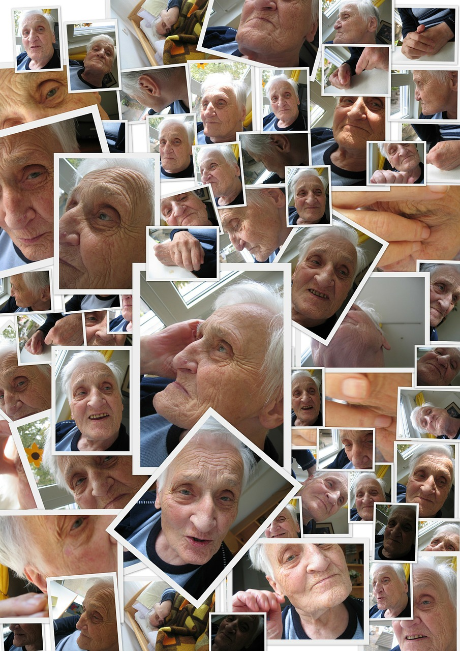 Collage showing different photos of an elderly woman