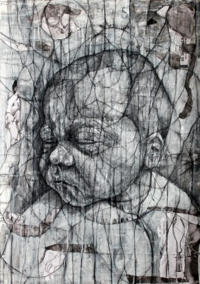 Fentanyl Dreams , 2012-14, Charcoal, acrylic and collage on paper, 84 x 59cm