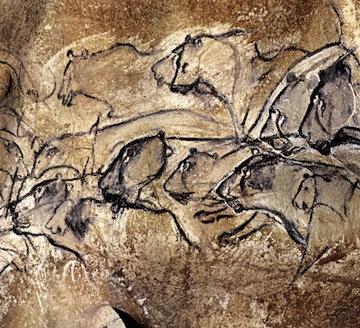 Aurignacian Man, Panel of the Lions (c.30,000 BC), Chauvet Cave, Vallon-Pont-d'Arc, Ardèche, France