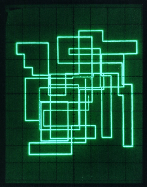 Dominic Boreham, Going for a walk with a line, 1977 (first computer drawing), computer and oscilloscope.jpg