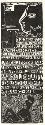 Croquis dans les t+®nebres, poem, linocut, c 1941