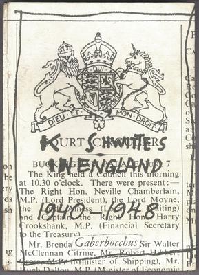 Kurt Schwitters in England, cover design, Gaberbocchus 1958