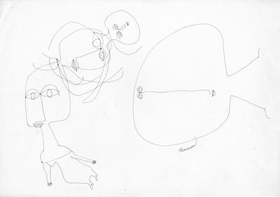 GV Art gallery London, Franciszka Themerson, Three figures, a fourth enters games from the series 'Traces of Living', c.1963, pen and ink, 25 x 35.5