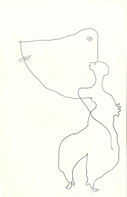 GV Art gallery London, Franciszka Themerson, Attraction from the series 'Traces of Living', c. 1961, pen and ink, 30.5 x 20.jpg