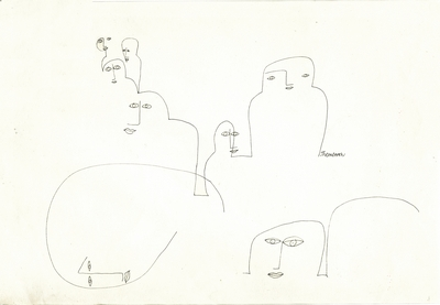 GV Art gallery London, Franciszka Themerson, They also serve . . . from the series 'Traces of Living', c. 1963, pen and ink, 23.5 x 35.5.jpg