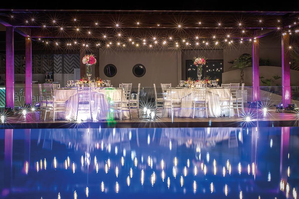 Dinner area beautifully light up