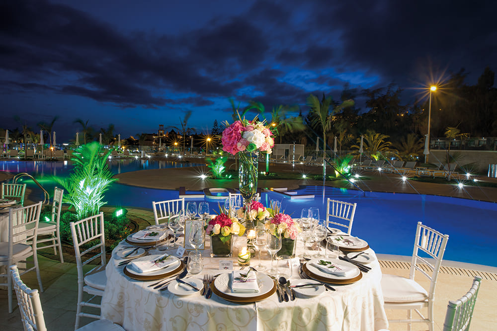 Dinner set up by pools