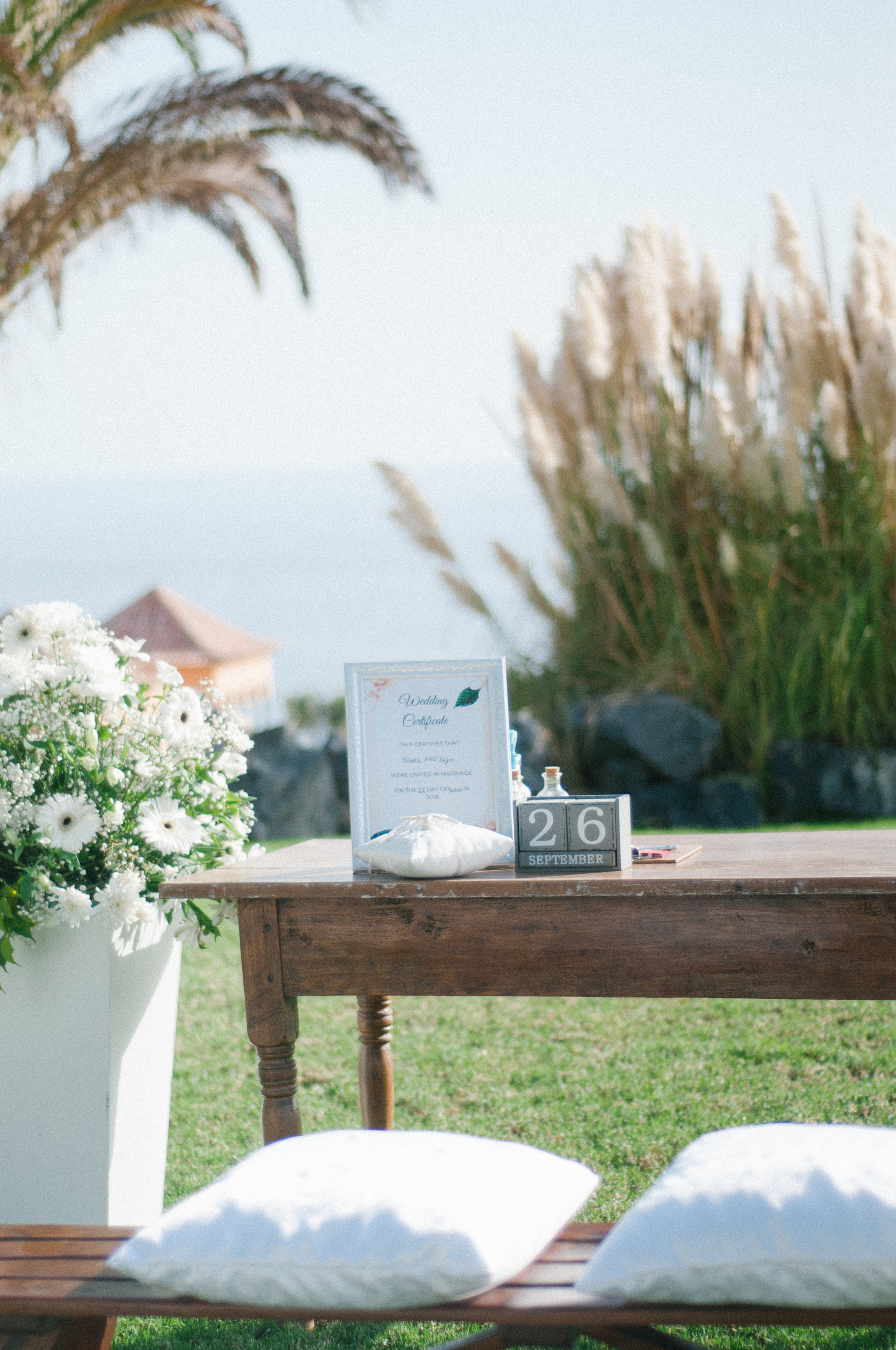 Flowes (as can be seen on the left) included in ceremony set up price