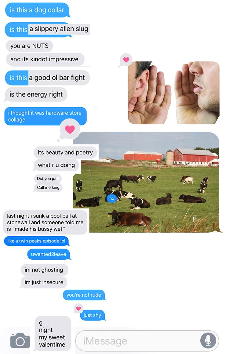 Found poem using texts with Quinn Sullivan, digital collage