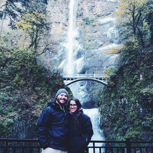 Carrie and her husband, Shane, at the Columbia Gorge at Multnomah Falls, Oregon. After healing from her extreme pain, Carrie was able to do the 16-hour road trip and hike pain-free. (Photo courtesy Carrie Russell)